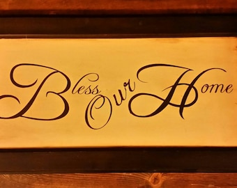Wooden Bless Our Home Sign, Bless Our Home Wall Hanging, Bless Home