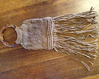 Knitted faux suede fringe purse