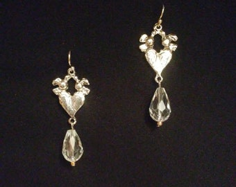 Antique Silver Tone and Crystal Drop Earrings