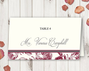 """Red Roses Wedding Place Cards Printable Template """"Classic Roses"""", Brgundy. Name Cards & Placecards. Instant Download, MS Word DIY Template."""