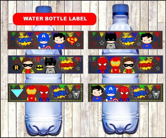 superhero chalkboard water bottle labels printable superhero