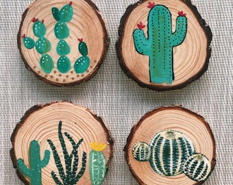 Cactus Set of Coaster Wood Rounds