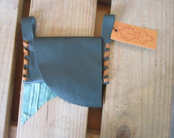 DARK GREEN & TURQUOISE Leather Fringed Belt Pouch / Wallet / Cell Phone Carrier