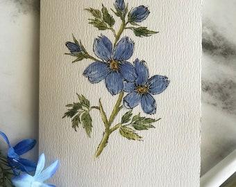 Handmade Sketchy Blue floral watercolor notecard.