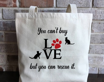 Cat Lover Gift - Cat Mom Gift - Cat Rescue - Kitten Adoption Gift - Animal Rescue - Adopt Don't Shop - Large Canvas Tote Bag - Cat Lady Gift
