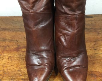 Brown Leather Boots, 9, Size 9, soft leather