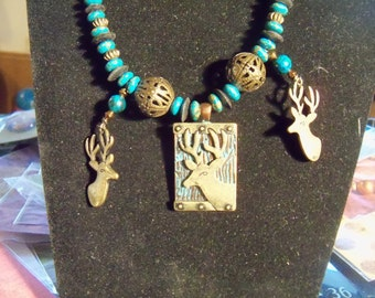 artistic assemblage necklace unique gift for her teal patina deer and brass  eclectic set with earrings jewelry OOAK