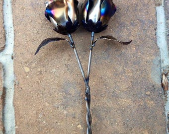 Joining of 2 hearts steel rose wedding gift steel anniversary 11th anniversary metal art Mother's Day Valentine's Day love flowers