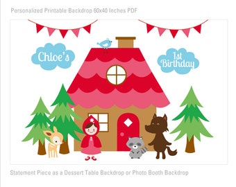 DIGITAL FILE Little Red Riding Hood Birthday Printable Banner Backdrop 60x40 inches, Little Red Party Backdrop, Woodland Poster