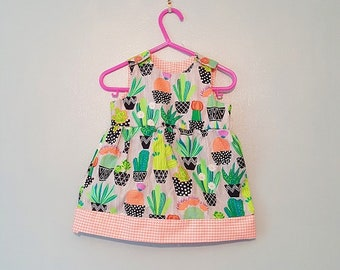 Cactus dress, Baby dress, Baby girl clothes, Baby girl dress top, Baby shower gift, Baby outfit, Baby clothes, baby girl outfit