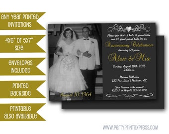 Photo 50th Anniversary Invitations - Chalk Golden Wedding Anniversary Party - Heart Monogram Invitation - Gold and Black Vow Renewal Invite