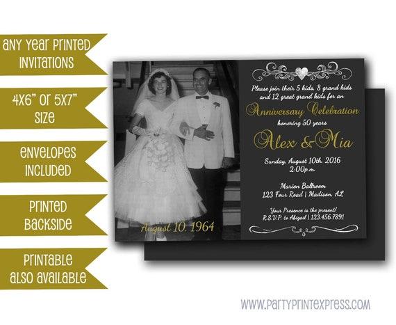 50th Wedding Vow Renewal Invitations: Photo 50th Anniversary Invitations Chalk Golden Wedding