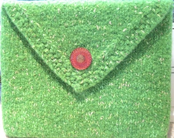 Spring Green Felted Clutch Purse or iPad/eTablet with Czech Glass Button
