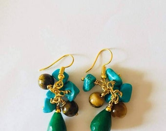Cluster earrings with turquoise, tiger eye and Jadeite