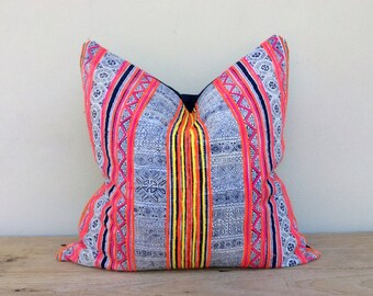 HMONG PILLOW PINK, vintage ethnic pillow A Piece Of Tribal Textile pillowcase, Bohemian cushion 20 x 20