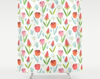 Girls Shower Curtain Floral Bathroom Decor Girls Bathroom Tulip Pattern  Cute Shower Curtain Art Flower Illustration