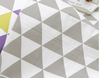 """Cotton Fabric 3.54""""(9 cm) Big Triangle Gray By The Yard"""