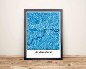 framed map print of london england simple blue contrast london map art
