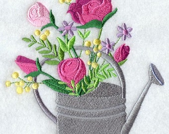 Roses in  Watering Can  Embroidered Towel | Embroidered Kitchen Towel | Flour Sack Towel | Embroidered Tea Towel | Dish Towel