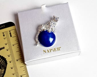 Napier PANTHER on Blue  Enamel ball Pin Brooch/  Duchess of Windsor Pnather on  Blue enamel ball  brooch #1621
