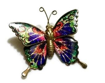 Multicolored Butterfly Brooch, Summer Pin, Summer Costume Jewelry Pin, Butterfly Brooch, Colorful Butterfly Jewelry, Enamel Jewelry