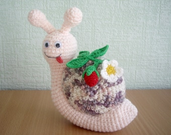 """PDF PATTERN amigurumi crochet toy """"Little snail with strawberry"""" step by step tutorial/cute toy for kids/mother's day/nursery room decor"""