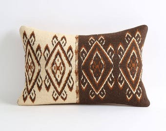 Kilim Pillowcase Brown cream Kilim Throw Pillow Turkish Pillow Embroidery Pillowcases Decorative Throw Pillow Sofa Pillow