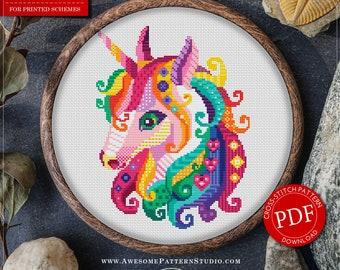 Funny Unicorn Cross Stitch Pattern for Instant Download *P488 | Lovely Cross Stitch| Room Decor| Needlecraft Pattern| Easy Cross Stitch