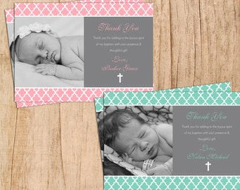 Modern Quatrefoil Photo Baptism/Christening Thank You Digital and Printable JPEG or PDF .First Communion Thank You card .many colors choices