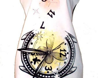 White A Line Dress Tunic With Butterflies And Clock PinkArt Print