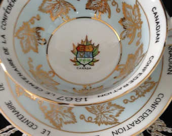 Cup and saucer, Royal Grafton Teacup and saucer, Canada bicentennial 1867-1967, Made in England, Coat of arms, TreasuresinTyme