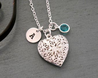 Heart Picture Locket, Initial Birthstone Picture Locket, New Mom Gifts, New Mother Gifts, Little Girl Locket Gifts, Picture Locket