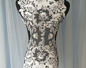 1pcs 50x31cm wide ivory dress back embroidery dress appliques patches F24T43L0130Y free ship