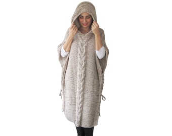 NEW! Plus Size Maxi Knitting Poncho with Hoodie - Over Size Tweed Beige Cable Knit by Afra
