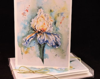 Blue Iris Original Watercolor PRINT Card Set (Set of Four) Watercolor Cards,Iris Card, Blue Green Iris