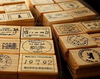 Vintage Postmark Stamp Set - Wooden Rubber Stamp Set - Deco Stamps - 4 styles in