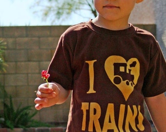 I Love Trains Toddler Train Shirt, Ink Free Kids Train Tee, Train Birthday Shirt,