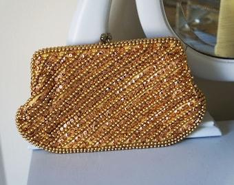 Vintage 50s Bon Soir Italian Beaded & Sequined Gold Clutch Purse