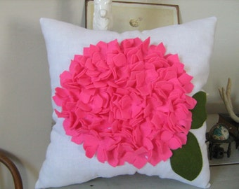 NEW COLOR - Hot Pink Felt and White Linen Hydrangea Pillow