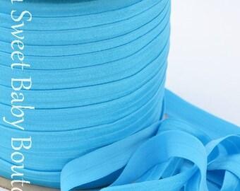 Fold Over Elastic 5 Yards Turquoise