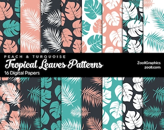 Tropical Leaves Peach & Turquoise Patterns, 16 Digital Papers 12x12, Pattern File PAT Included, Seamless, Commercial Use, INSTANT DOWNLOAD