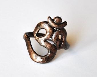 Om ring in black copper; zen jewelry