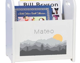 Personalized Book Caddy and Storage with Misty Mountain Design cadd-whi-245
