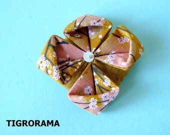 origami lotus fabric flower brooch Japanese cherry blossoms