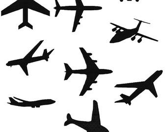Airplane Silhouettes Machine Embroidery Design Set 4X4