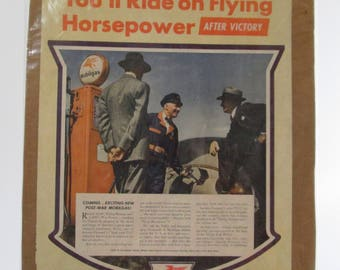 "Vintage Mobile Gas Advertisement, 1941, Gasoline Advertisement, Full Page Ad, Magazine Advertisement, Mobilgas, ""Ride on Flying Horsepower"""