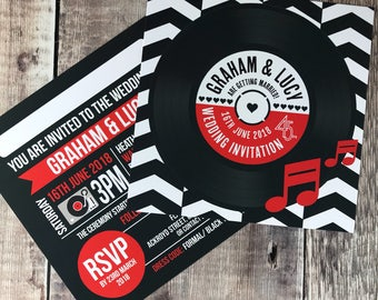 Wedding/ Party Invitations - Chevron Vinyl Record Design x 40