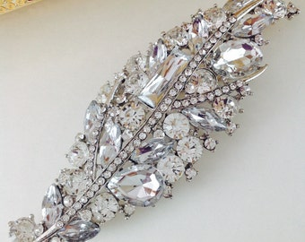 Large crystal rhinestone brooch pin - Leaf Brooch - wedding cake broach  pin - rhinestone brooch bouquet crystal hat brooch pin