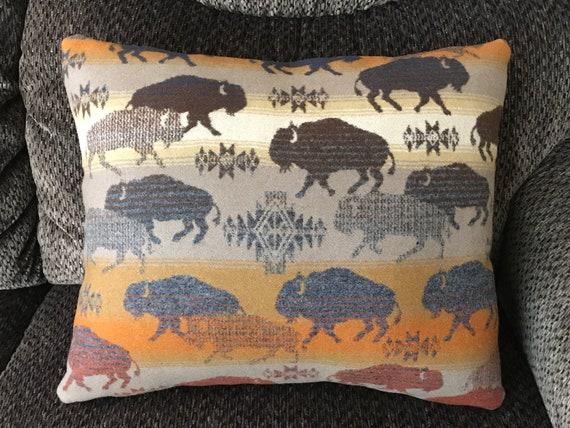 Wool Pillow Cover / Accent Pillow Cover 18 x 15 Running Buffalo