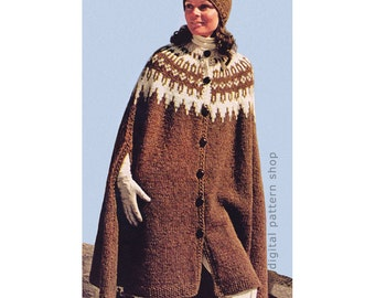 Cape Knitting Pattern Vintage Icelandic Cape & Cap Pattern Womens Knit Cape Poncho Arm Slits PDF Instant Download K90